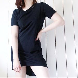 TopShop Distressed High Low Tee Shirt Dress Black